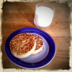 Crumpets and milk