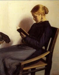 A young girl reading, by M Anchor (c. 1890)