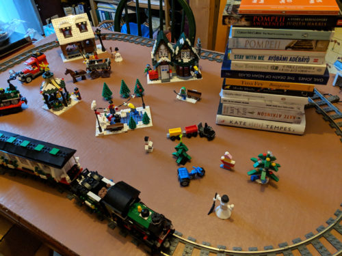 Lego Christmas train and Christmas books